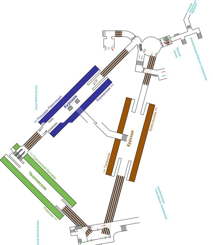 Схема станции метро Курская