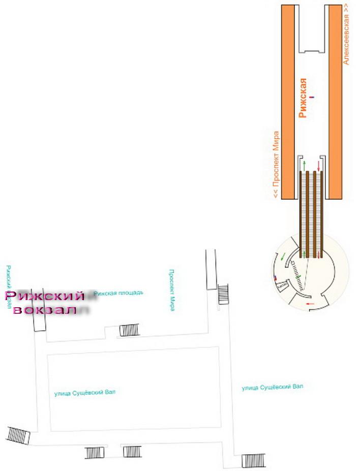 Схема станции метро Рижская