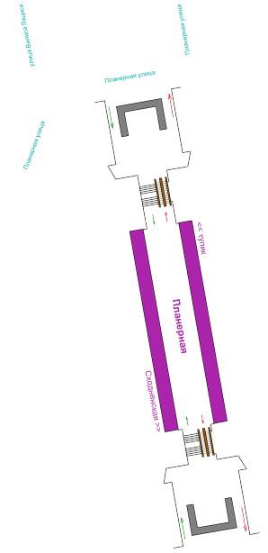 Схема станции метро Планерная