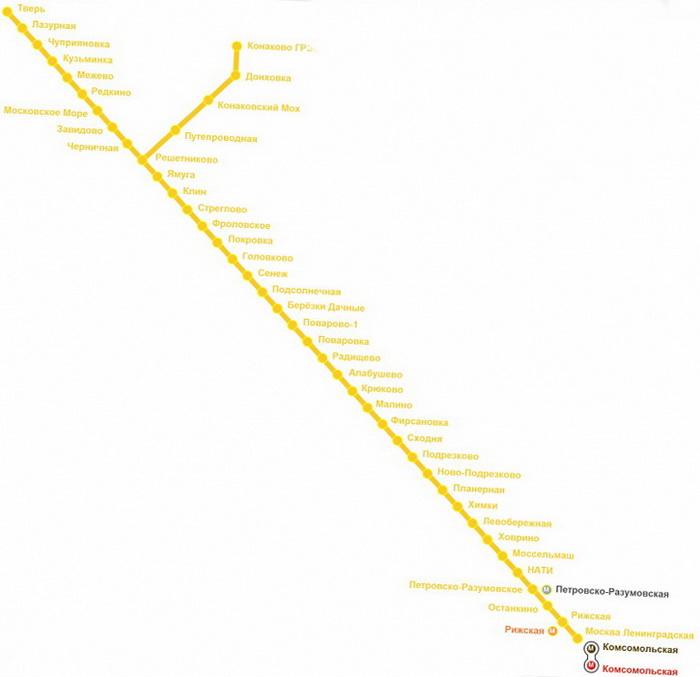 Схема маршрутов электричек с
