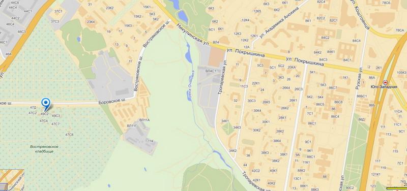 востряковское кладбище карта