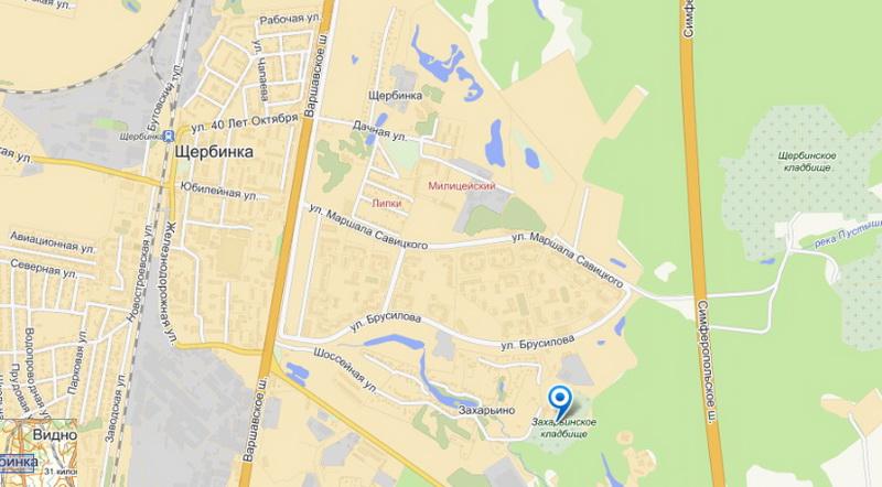 Захарьинское кладбище - схема