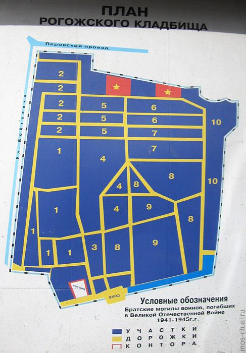 Рогожское кладбище - схема