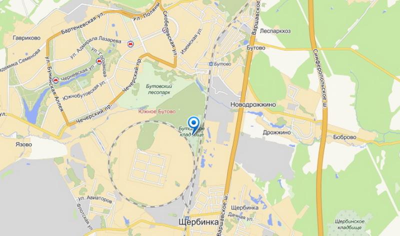 щербинское кладбище на карте